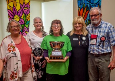 JenL to R: Holly Pender-Love, (Vice President, Canadian Peony Society); Janice Ferraro (Floral Designer), Jen Boss (BC/Yukon Director, CPS) and winner of the President's Award Trophy, Darlene Kalawsky (President, CPS), Judge Reiner Jakubowski