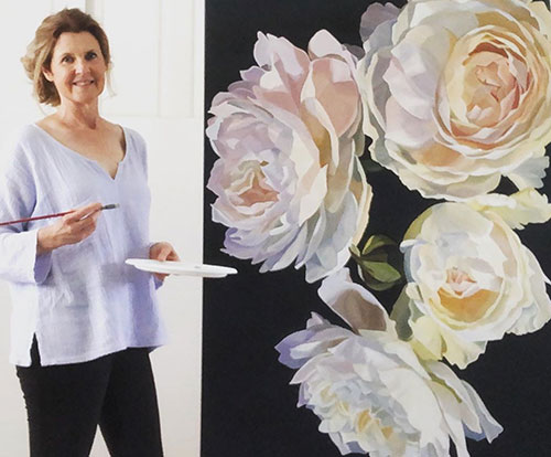 Jenny Fusca with large peony painting